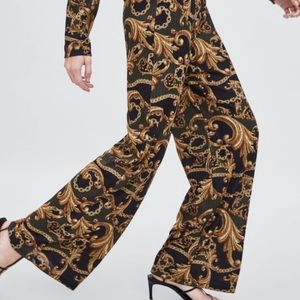 NWT Zara 💫 Chain Print Textured Weave Pants